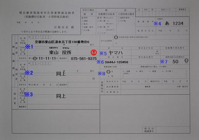 東山区役所 軽自動車税廃車申告書兼標識返納書の記入例