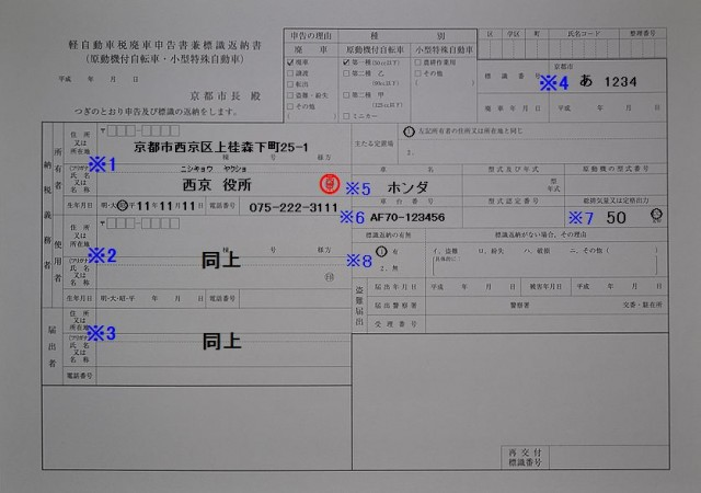西京区役所 軽自動車税廃車申告書兼標識返納書の記入例