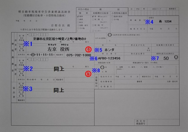 左京区役所 軽自動車税廃車申告書兼標識返納書の記入例