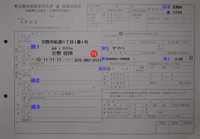 交野市役所 税務室 軽自動車税廃車申告書兼標識返納書 記入例