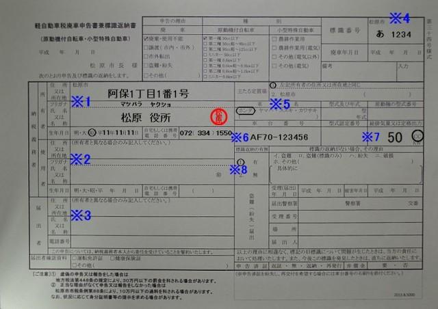 松原市役所 課税課 軽自動車税廃車申告書兼標識返納書 記入例